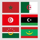 Flags alittihad almaghribi Maghreb royalty free stock photo