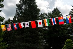 Flags of all Asian countries in the park stock photography