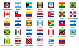 Flags of all countries of the American continents.  Royalty Free Stock Photos