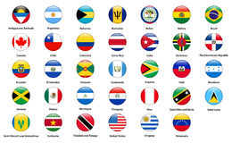 Flags of all countries of the American continents.  Royalty Free Stock Images