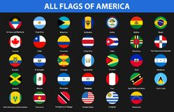 Flags of all countries of American continents. Flat style. Vector illustration Stock Photos