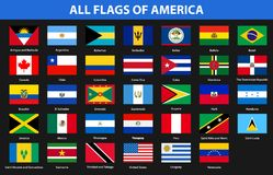 Flags of all countries of American continents. Flat style. Vector illustration Royalty Free Stock Photos