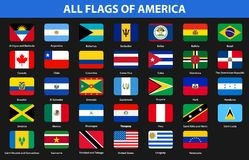 Flags of all countries of American continents. Flat style. Vector illustration Stock Images