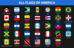 Flags of all countries of American continents. Flat style. Vector illustration Stock Photography
