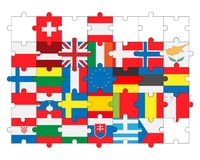 Flags of all countries, members of European Union in puzzle Royalty Free Stock Photo