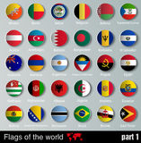 Flags of all countries  with shadows Stock Images