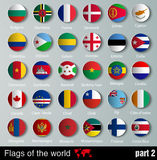 Flags of all countries  with shadows Stock Photography