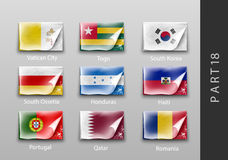 Flags of all the countries tattered masking tape Stock Photography