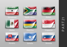 Flags of all the countries tattered masking tape. 22 set of flags of all the countries tattered masking tape Royalty Free Stock Photos