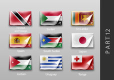 Flags of all the countries tattered masking tape Stock Photo