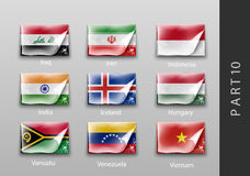 Flags of all the countries tattered masking tape Stock Photos