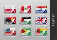 Flags of all the countries tattered masking tape Royalty Free Stock Image