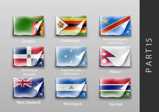 Flags of all the countries tattered masking tape. 22 set of flags of all the countries tattered masking tape Stock Image