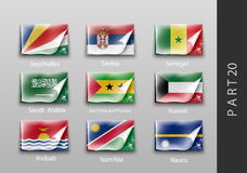 Flags of all the countries tattered masking tape Royalty Free Stock Photo