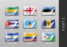 Flags of all the countries tattered masking tape Royalty Free Stock Photos