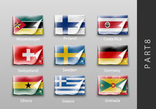 Flags of all the countries tattered masking tape. 22 set of flags of all the countries tattered masking tape Royalty Free Stock Images