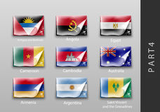 Flags of all the countries tattered masking tape. 22 set of flags of all the countries tattered masking tape Stock Images