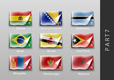 Flags of all the countries tattered masking tape. 22 set of flags of all the countries tattered masking tape Royalty Free Stock Image