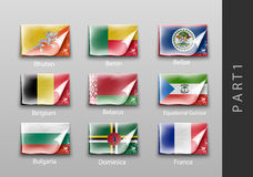 Flags of all the countries tattered masking tape. 22 set of flags of all the countries tattered masking tape Royalty Free Stock Photography