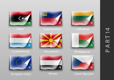 Flags of all the countries tattered masking tape Stock Image