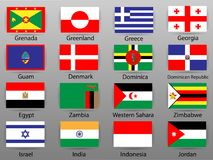 Flags of all countries of the world Part 4. World decor Stock Photos