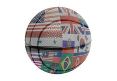 Flags all countries of world on volleyball ball. Isolated on a white background Stock Photos