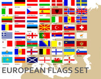 Flags of all european countries. All European flags, 100% vector Royalty Free Stock Image