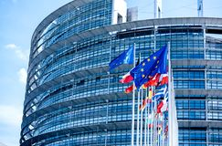 Flags of all member states of the European Union Parliament stock image