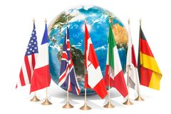 Flags of all members G7 around the Earth Globe, meeting concept. 3D rendering isolated on white background Stock Photos