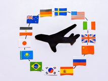Flags of all nations of the world.Grouping of various flags of the world on white.International Day of Peace. World Peace Day.Business travel concept.Top view stock photo