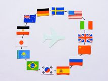 Flags of all nations of the world.Grouping of various flags of the world on white.International Day of Peace. World Peace Day.Business travel concept.Top view stock photos
