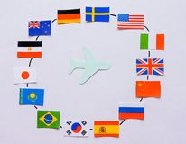 Flags of all nations of the world.Grouping of various flags of the world on white.International Day of Peace. World Peace Day.Business travel concept.Top view royalty free stock photo