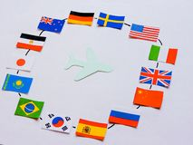 Flags of all nations of the world.Grouping of various flags of the world on white.International Day of Peace. World Peace Day.Business travel concept.Top view royalty free stock images