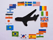 Flags of all nations of the world.Grouping of various flags of the world on white.International Day of Peace. World Peace Day.Business travel concept.Top view royalty free stock photography