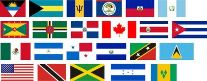 Flags of all North America countries Stock Photo