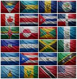 Flags of all North American countries, Collage Stock Photography