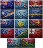 Flags of all Oceania countries, Collage. Waving colorful flags of all the South American countries Stock Photo