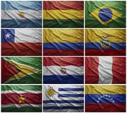 Flags of all South American countries, Collage. Waving colorful flags of all the South American countries Stock Photography