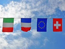 Flags of alpine countries. In the air Royalty Free Stock Photography