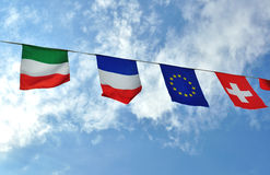 Flags of alpine countries Royalty Free Stock Images