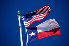 Flags of America and Texas 3. The flags of America and Texas at White Rock Lake in Dallas, Texas Stock Photos