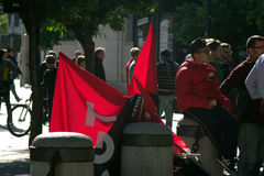 Flags (anarchist ones) in a demonstration 17 Royalty Free Stock Image