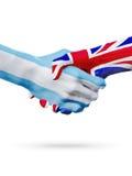 Flags Argentina, United Kingdom countries, partnership, national sports team Stock Photos