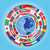 Flags around globe. Circles of flags around globe Stock Photos