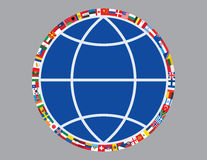 Flags around sign of globe. Vector illustration Royalty Free Stock Photography