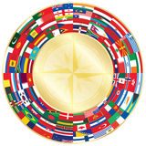 Flags around wind of rose Stock Images