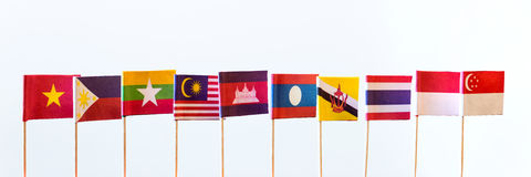 Flags of asean members Royalty Free Stock Image