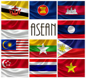 Flags of ASEAN Nations. 3D rendering of Association Of Southeast Asian Nations (ASEAN) flags. ASEAN is a political and economic organization comprising of Stock Image
