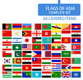 Flags of Asia Complete Set Stock Photos