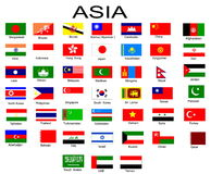 Flags of Asian countries Royalty Free Stock Image